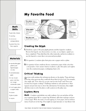 my favorite food all about me glyph activity printable lesson