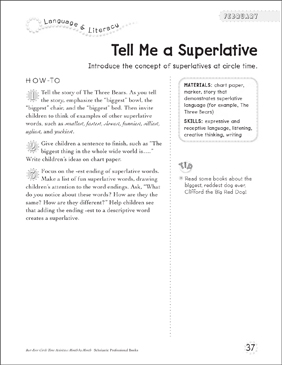 tell me a superlative printable lesson plans ideas and skills sheets