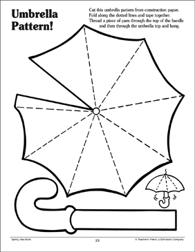 Umbrella pattern printable arts crafts and skills sheets for Printable umbrella template for preschool