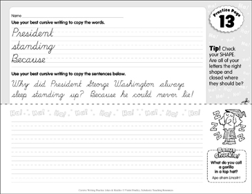 Cursive Practice 9: Jokes &amp- Riddles | Printable Skills Sheets