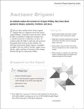 awesome origami geometric shapes symmetry angles printable