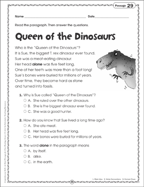 queen of the dinosaurs close reading passage printable skills sheets and texts. Black Bedroom Furniture Sets. Home Design Ideas