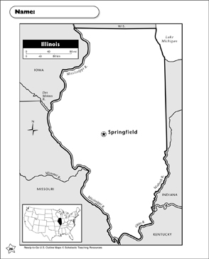 photo about Printable Map of Illinois titled Map of Illinois Printable Maps
