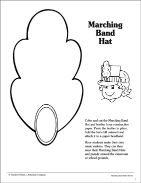marching band hat template printable arts crafts and skills sheets