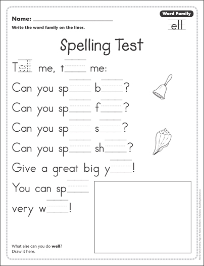 spelling test word family ell word family poetry page printable skills sheets. Black Bedroom Furniture Sets. Home Design Ideas