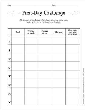First Day Challenge: First Day of School Game | Printable Skills Sheets