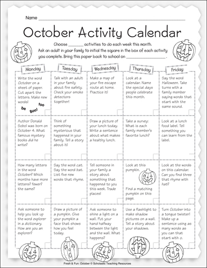 october activity calendar printable calendars lesson plans and ideas