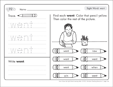 Sight Word Went Sight Words Learning Mat Printable