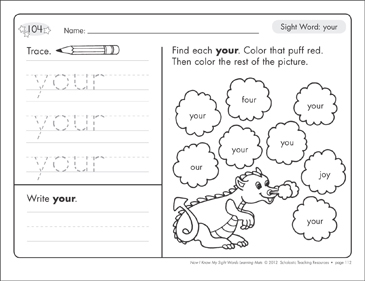 Sight Word Your Sight Words Learning Mat Printable