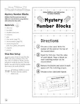 mystery number blocks using addition and subtraction to solve  mystery number blocks using addition and subtraction to solve problems  addition  subtraction shoe box learning center