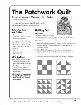 the patchwork quilt by valerie flournoy a reading response project printable lesson plans. Black Bedroom Furniture Sets. Home Design Ideas