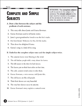 Complete and Simple Subjects   Printable Test Prep, Tests and Skills ...