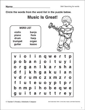 Zany image for music word searches printable