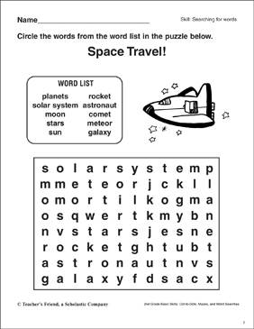 Word Search Space Printable Word Searches And Skills