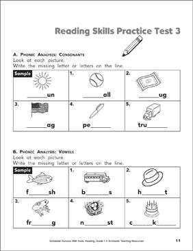 Reading Skills Practice Test 3 Grade 1 Printable Test Prep