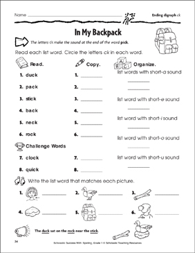 in my backpack ending digraph ck printable skills sheets. Black Bedroom Furniture Sets. Home Design Ideas
