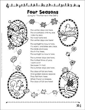 four seasons thematic song printable texts and skills sheets