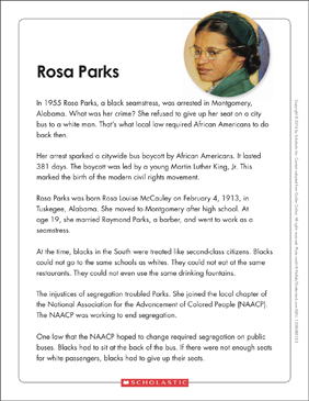 Rosa Parks: Text & Organizer | Printable Graphic Organizers ...
