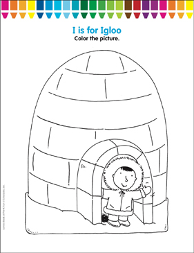I is for Igloo: Coloring Page   Printable Coloring Pages