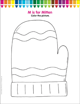 M is for Mitten: Coloring Page | Printable Coloring Pages