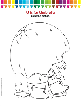 U Is For Umbrella Coloring Page Printable Coloring Pages