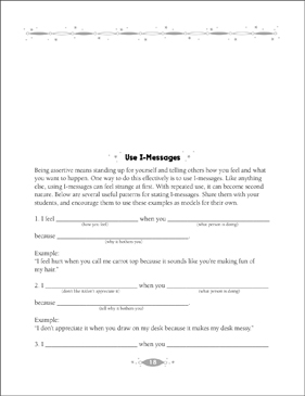 Use I Messages Conflict Resolution Activities Printable Lesson
