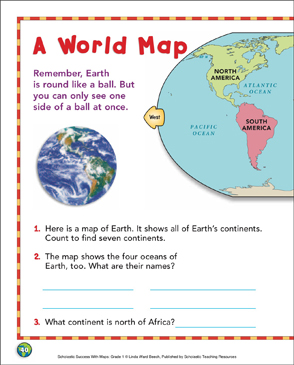How America Sees The World Map.A World Map Map Skills Printable Maps And Skills Sheets