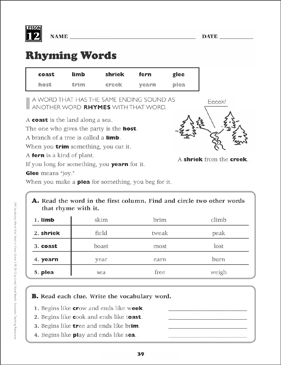 rhyming words grade 3 vocabulary printable skills sheets. Black Bedroom Furniture Sets. Home Design Ideas