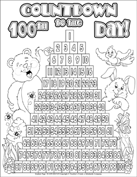 Countdown To The 100th Day Of School Coloring Page Printable
