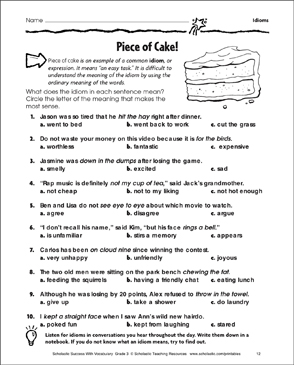piece of cake idioms printable skills sheets. Black Bedroom Furniture Sets. Home Design Ideas