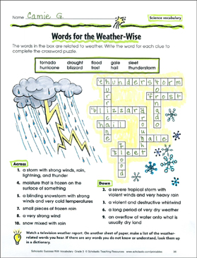 words for the weather wise science vocabulary printable skills sheets and crossword puzzles. Black Bedroom Furniture Sets. Home Design Ideas