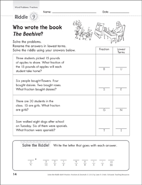 photo relating to Quick Solve Mysteries Printable identified as Clear up-the-Riddle: Phrase Challenges (Fractions) Printable