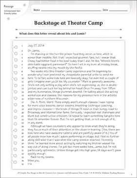 Backstage At Theater Camp Text Questions Printable Texts And