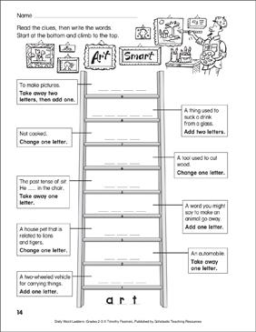 art smart word ladder grades 2 3 printable skills sheets. Black Bedroom Furniture Sets. Home Design Ideas