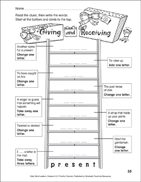 Giving and Receiving Word Ladder (Grades 2-3) | Printable Skills Sheets