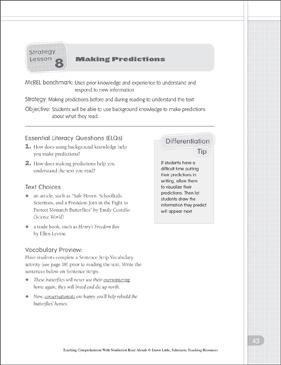 making predictions nonfiction read alouds printable lesson plans