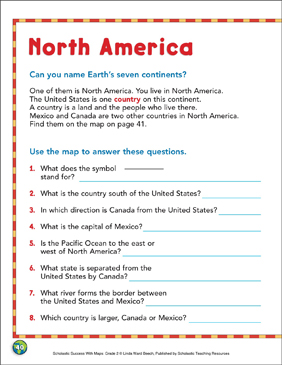 North America: Map Skills | Printable Maps and Skills Sheets