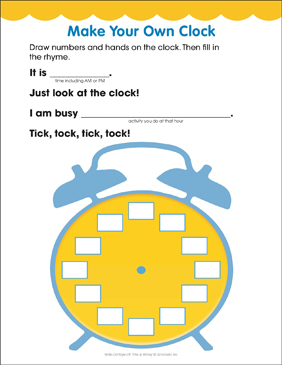 Make your own clock time fun page printable skills sheets make your own clock time fun page ibookread