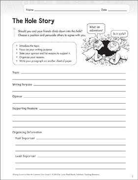 The Hole Story: Grade 5 Opinion Writing Lesson | Printable Skills ...