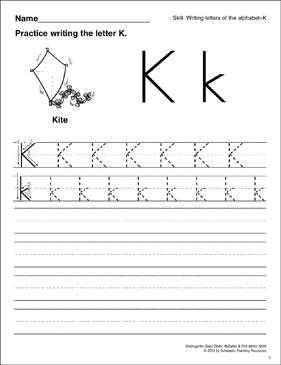 learning the letter k basic skills alphabet printable skills sheets. Black Bedroom Furniture Sets. Home Design Ideas