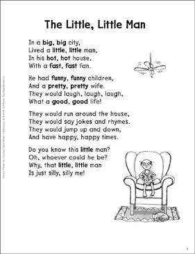 the little little man synonyms sight words poem printable skills sheets. Black Bedroom Furniture Sets. Home Design Ideas