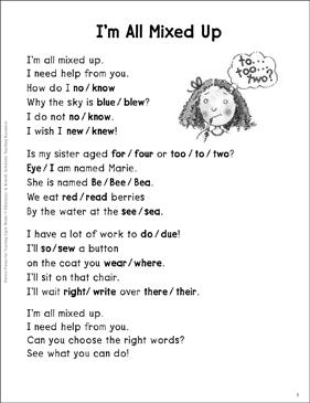 Im all mixed up homophones sight words poem printable skills im all mixed up homophones sight words poem ibookread PDF