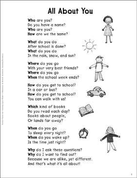 all about you question words sight words poem printable skills