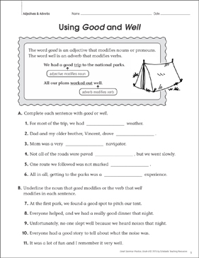 Using Good and Well (Adjectives & Adverbs): Grammar Practice Page ...