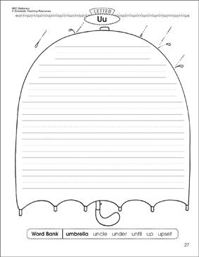 the umbrella letter uu alphabet stationery printable lined