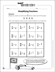 sudoku puzzle simplifying fractions  printable sudoku and skills  sudoku puzzle simplifying fractions