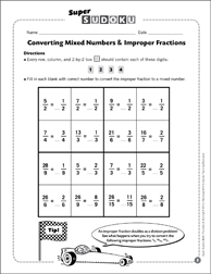 sudoku puzzle converting mixed numbers  improper fractions  sudoku puzzle converting mixed numbers  improper fractions