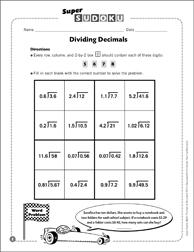Sudoku Puzzle: Dividing Decimals | Printable Sudoku and ...