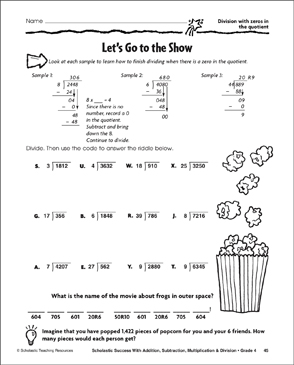 Long Division zero in the quotient   Math, long division, Divide ...