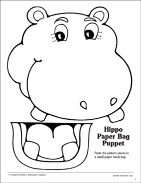 Hippo: Paper Bag Puppet Pattern | Printable Arts, Crafts and Skills ...
